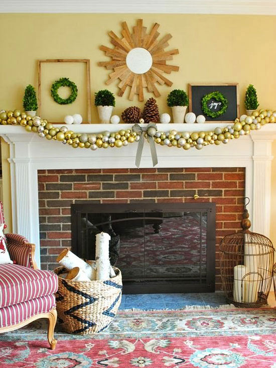 ornament garland mantel look - Christmas Mantel Decor