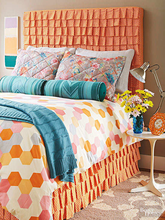 Cheap Headboard Ideas Part - 25: DIY Ruffled Headboard