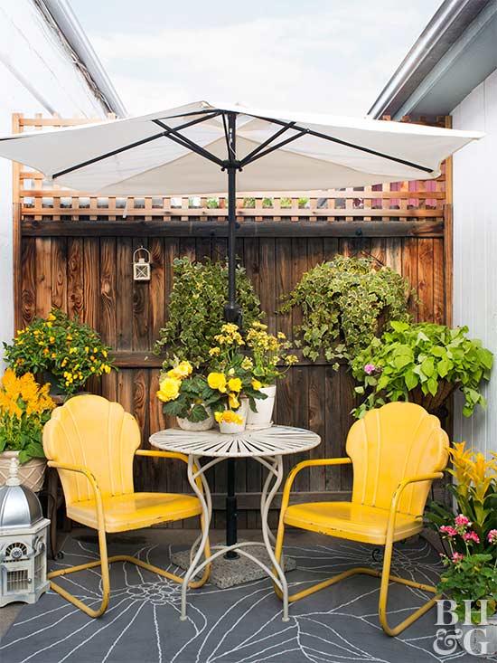 Metal Iron And Aluminum Furniture Bright Outdoor Patio Area