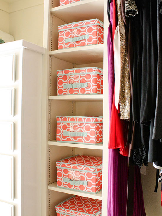There is nothing like the power of the almighty bin when organizing your  closet. Brightly covered fabric bins will organize all of your small items  ...