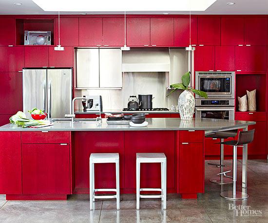 outstanding modern red kitchen | Red Kitchen Design Ideas