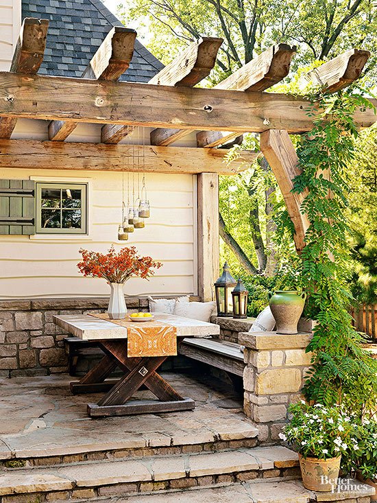 space saving bench - Patio Design Ideas For Small Backyards