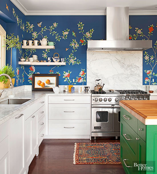 16 creative ways to use wallpaper in the kitchen for Cute yellow kitchen ideas