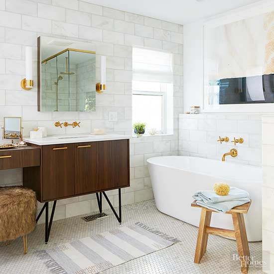 Bathroom Colors With Black And White Tile: Neutral Color Bathroom Design Ideas