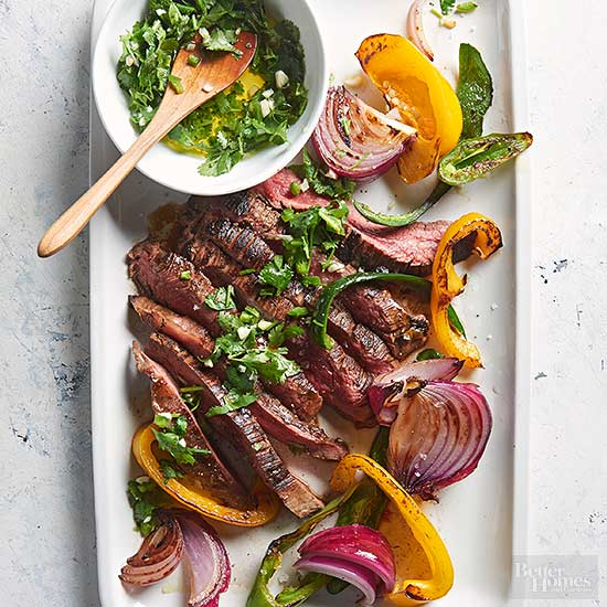 Romantic dinner recipes for two seared steak and peppers with cilantro chimichurri forumfinder Gallery