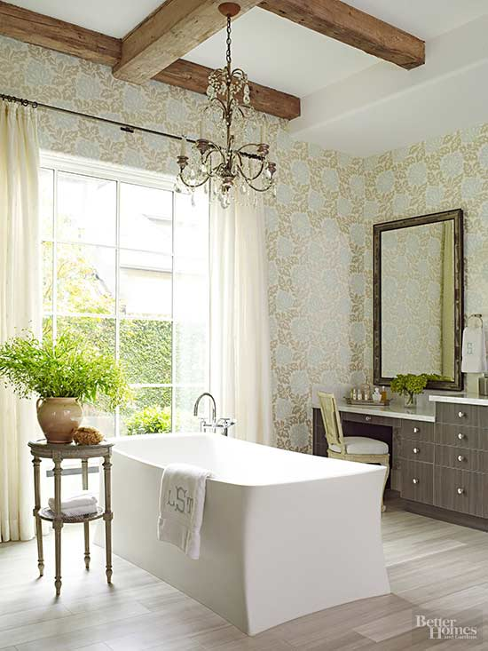 Beige And Gray Wallpaper Gives This Neutral Space The Wow Factor. Light  Beige Curtains Bring Softness To The Large Window, While The Vanity And  Side Table ...