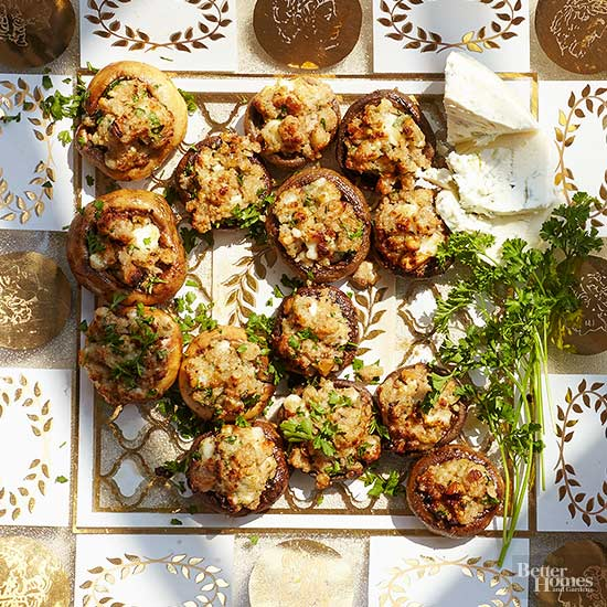 Blue Cheese And Walnut Stuffed Mushrooms