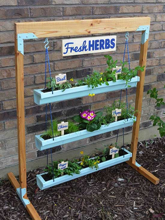 adorable better homes garden store. What if you need to plant vertically but don t have a wall do it on  Her Tool Belt has all figured out with this adorable DIY hanging gutter 9 Vertical Gardens For Better Herbs
