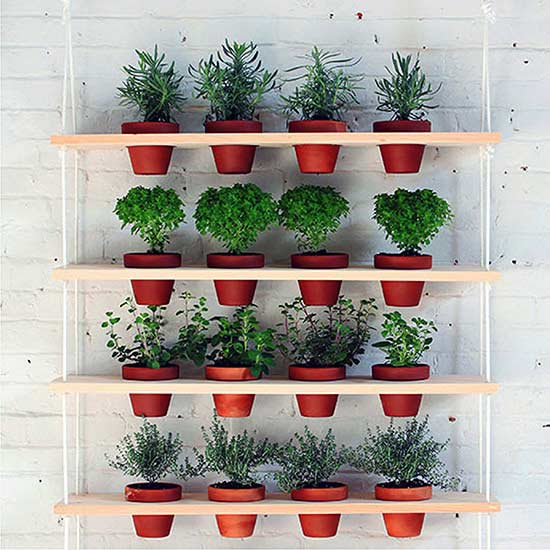 This simple and striking DIY project, created by HomeMade Modern, is such a  unique vertical display for an herb garden. Circular holes are drilled  through ...