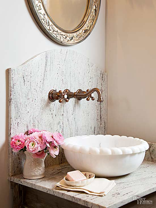 types of faucets for bathroom sink. Most lavatory faucets mount on the sink or behind it counter  Make sure faucet you select is proper size and design to fit your Types of Bathroom Faucets Better Homes Gardens BHG com