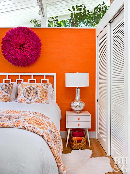 Orange Bedroom With White Accents