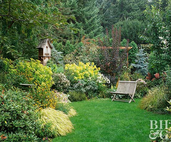Year round excitement garden plan for Round garden designs