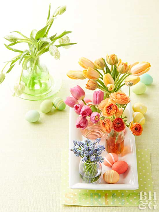 Pretty ways to decorate with easter eggs for easter from better eggs and flowers centerpiece pronofoot35fo Images