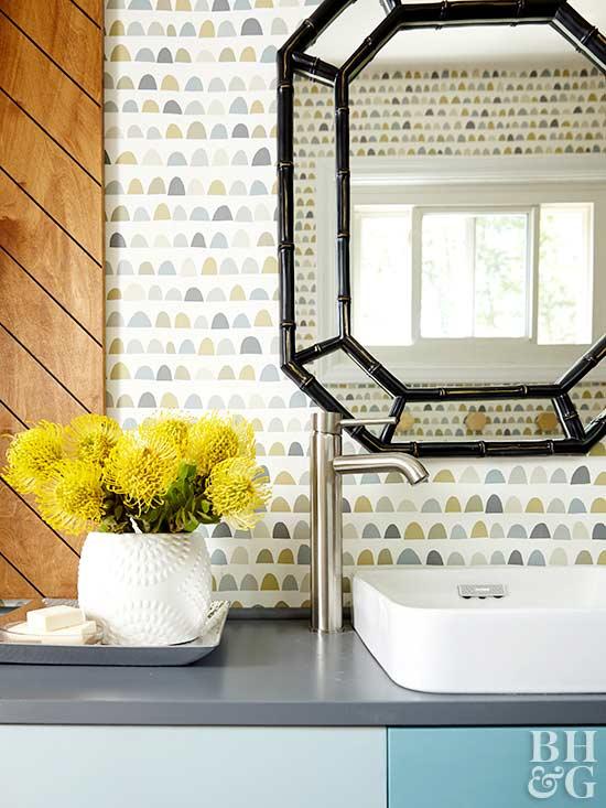 Bathroom Textured Wall Bathroom Mirror