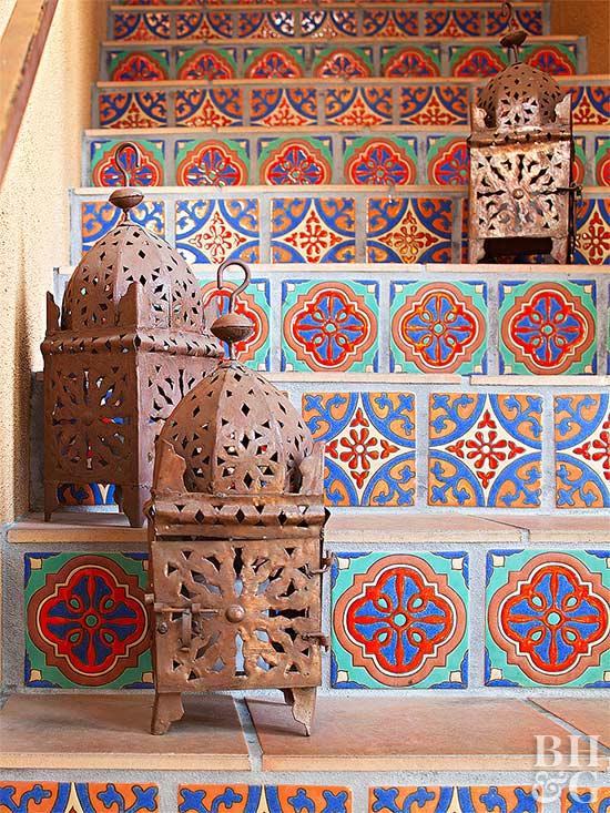 Colorido mosaico etapas decoração