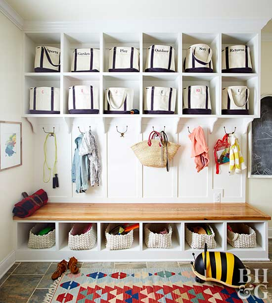 This built-in cubby proves that an organized entryway is a beautiful  entryway. Nooks and compartments both above and below a built-in bench give  every shoe, ...