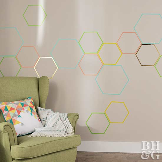 Make a Geometric Accent Wall with Washi Tape