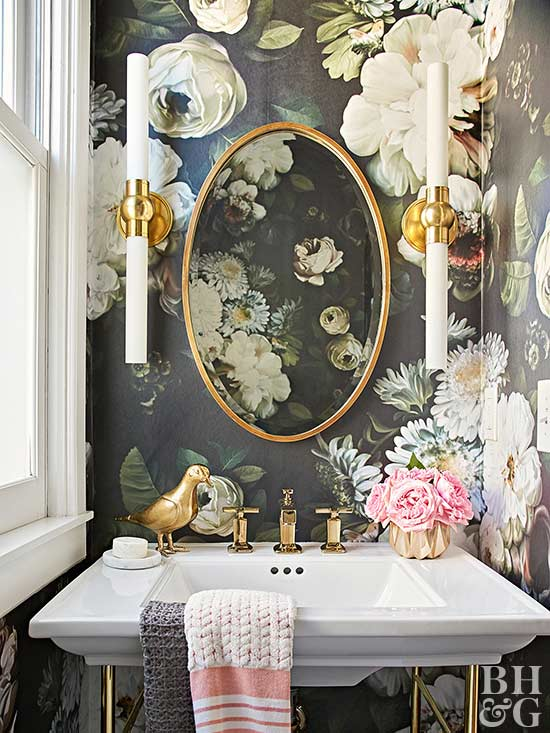 Interior Bathroom Wallpaper Ideas bathroom wallpaper ideas floral in half bath with gold accents
