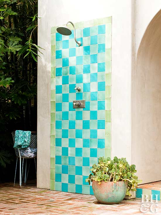 Outdoor Shower Ideas Part - 25: Turquoise And Green Tile Outdoor Shower