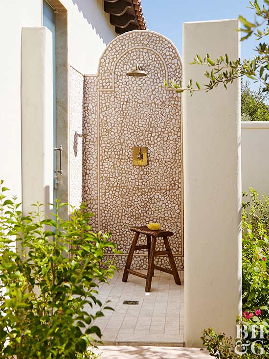 Amazing Outdoor Shower Ideas Photos Part - 10: Stone Pebble Tile Outdoor Shower With Wooden Bench
