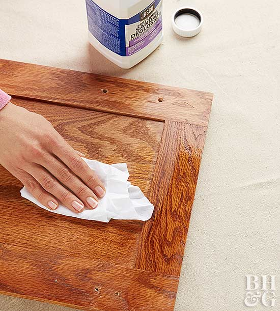 rubbing liquid sander deglosser on cabinets