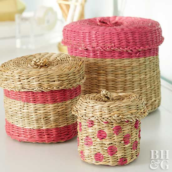 wicker baskets, baskets, painted baskets