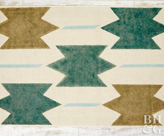 painted rug, rug, geometric shapes