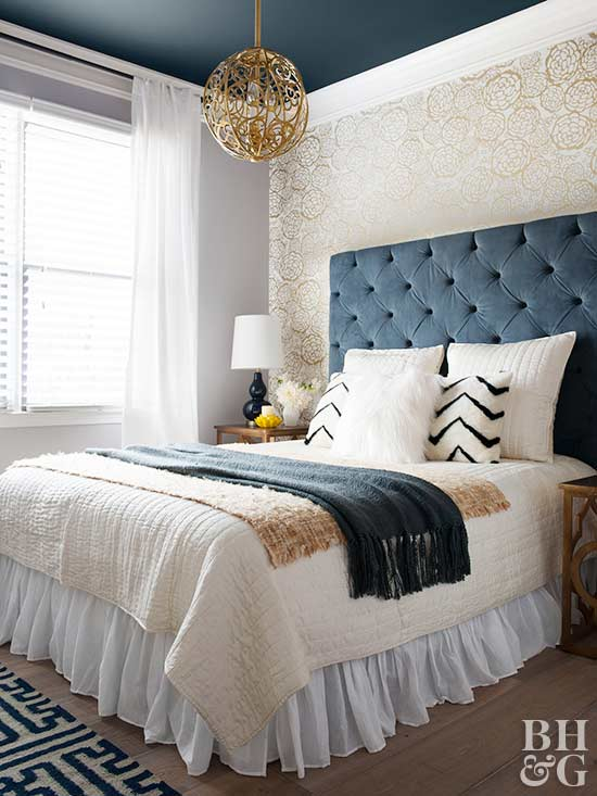 Navy Blue Bedroom. blue and white bedroom  tufted headboard Beautiful Navy Blue Bedrooms to Inspire Your Master Suite