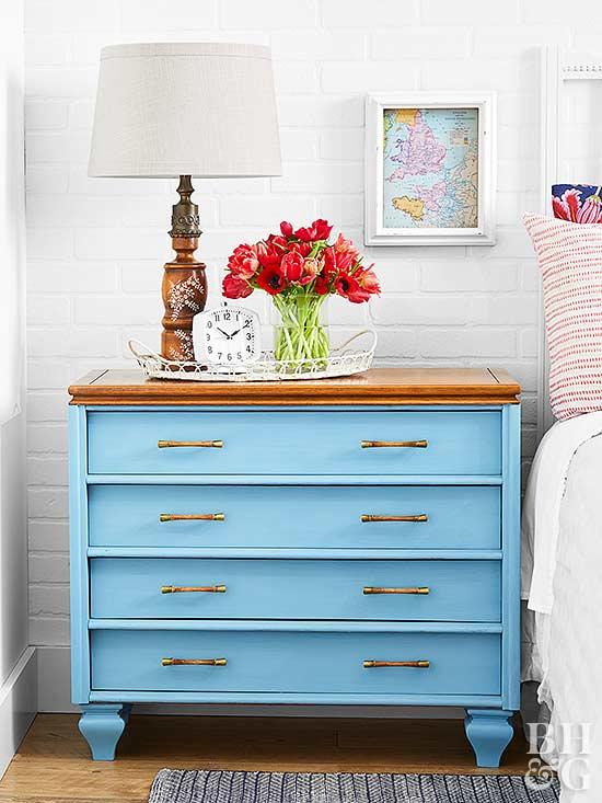 blue dresser bedside table before and after