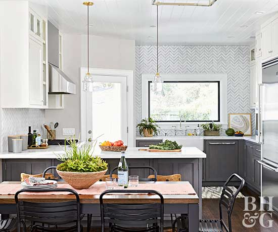 Gray And White Kitchen, Dining Room Table, Tile