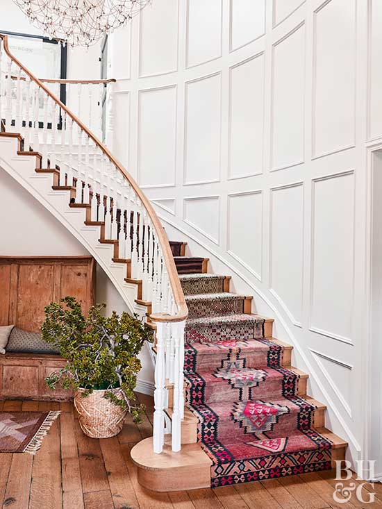 cosy better homes and gardens sweepstakes winners. curved staircase with turkish kilim rugs Hilary Duff Home Tour