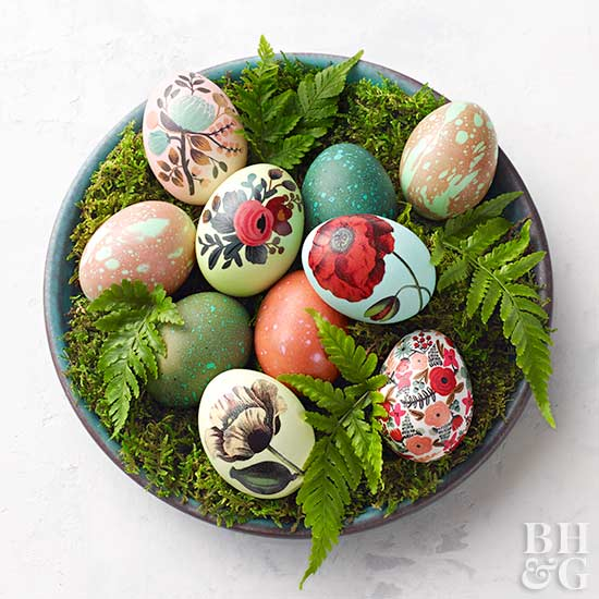 Vintage easter decorations from better homes and gardens vintage inspired floral easter eggs negle Choice Image