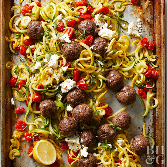 Fresh dinner recipes greek meatballs with squash noodles and tomatoes forumfinder Choice Image