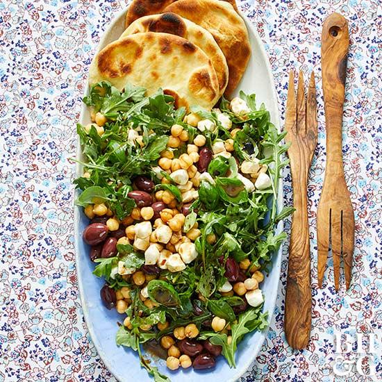 Mediterranean Salad on Mini Naan