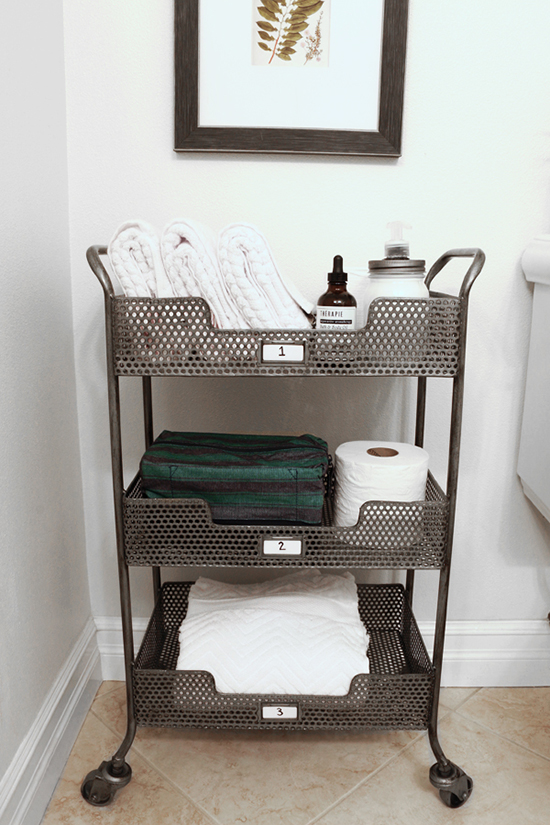 Repurpose A Bar Cart Into Roll Away Bathroom Storage Replace Shakers And Gl With Towels Lotions When You Need Extra E Just The