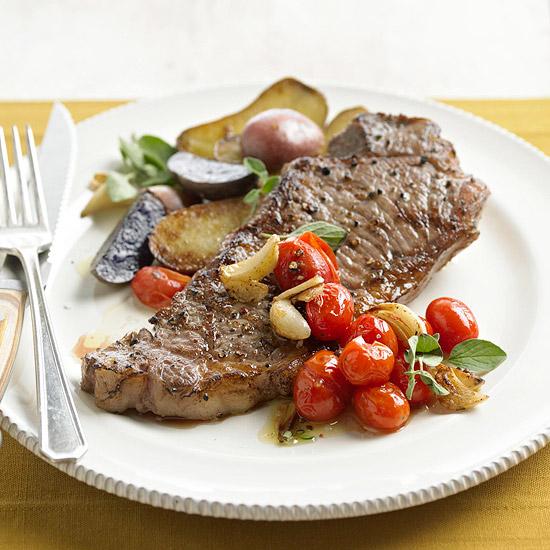 Pan Fried Garlic Steak And Potatoes