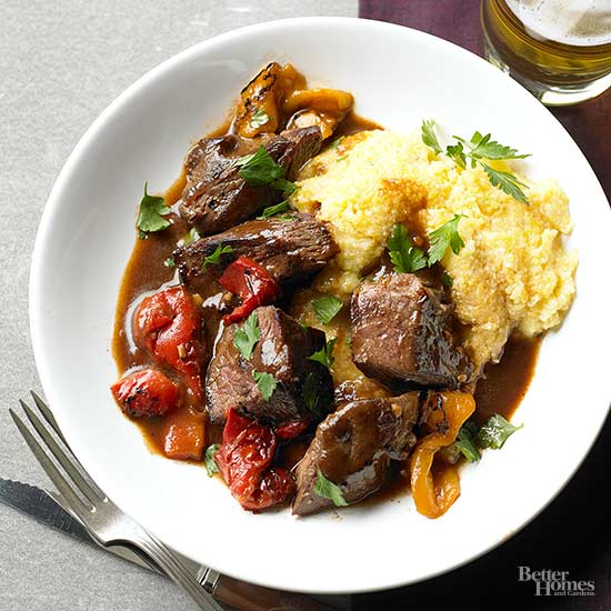 Eight ingredient or less beef recipes beef sirloin tips with smoky pepper sauce forumfinder Image collections