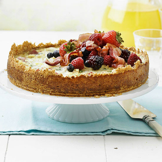 bread pudding quiche with berries and bacon