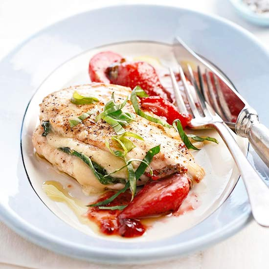 Parmesan-Stuffed Chicken And Melted Strawberries