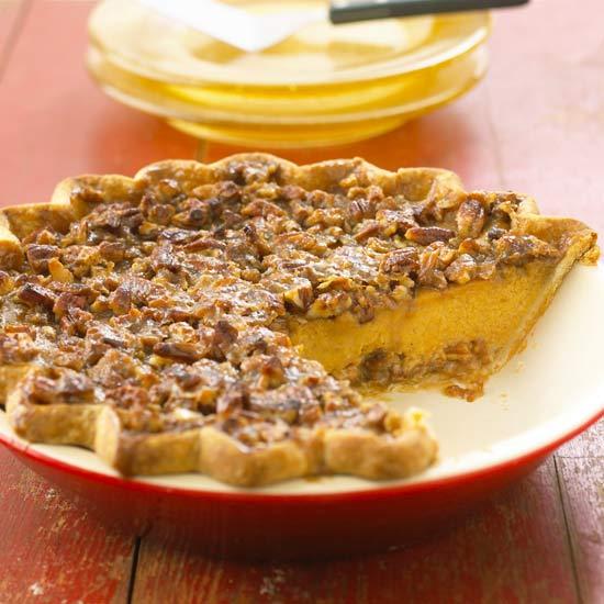 Thanksgiving Desserts Pecan Pie Pumpkin Pie More: Pecan-Topped Pumpkin Pie