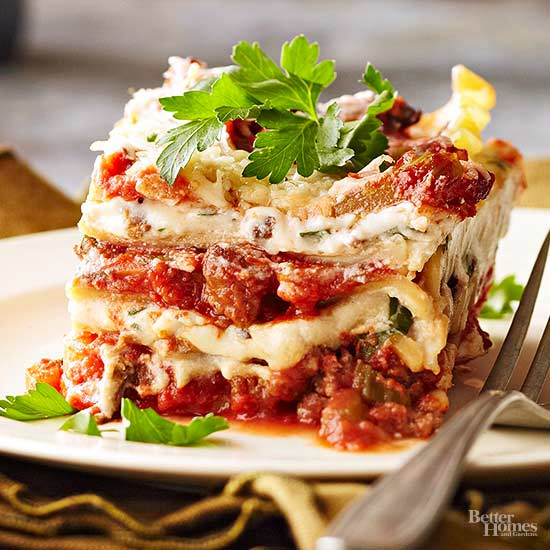 Bolognese lasagna with porcini ricotta filling for Better homes and gardens lasagna