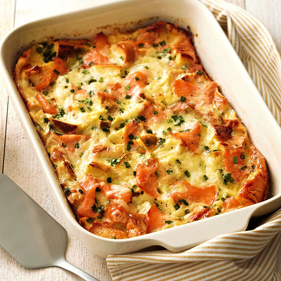 bagel lox and egg strata