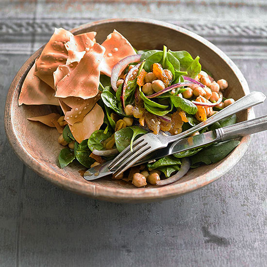 Spinach salad with indian spiced chickpeas apricots and onion forumfinder Gallery