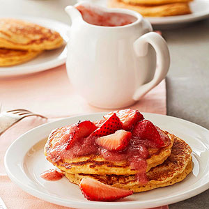 Grain Pancakes With Strawberry Rhubarb Sauce