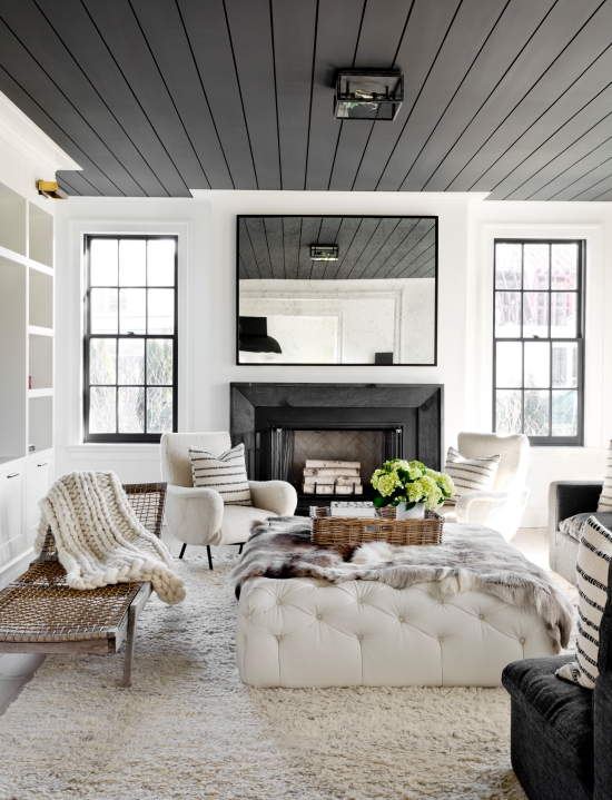 6 paint colors that make a splash on ceilings for How to paint a vaulted ceiling room