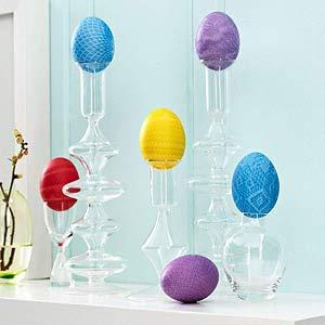 Eggs on candlesticks