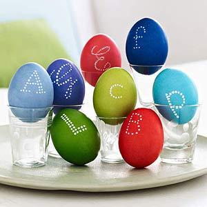 Monogrammed eggs in shot glasses