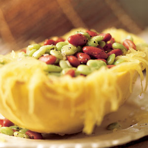 Spaghetti Squash with Balsamic Beans