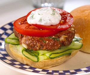 Grilled Lamb and Bulgur Burgers