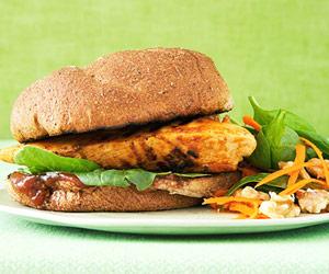 BBQ Chicken Sandwich with Balsamic Spinach Salad